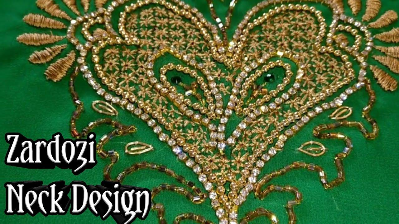Zardozi neck design with flower designs handwork for Indian ghar design