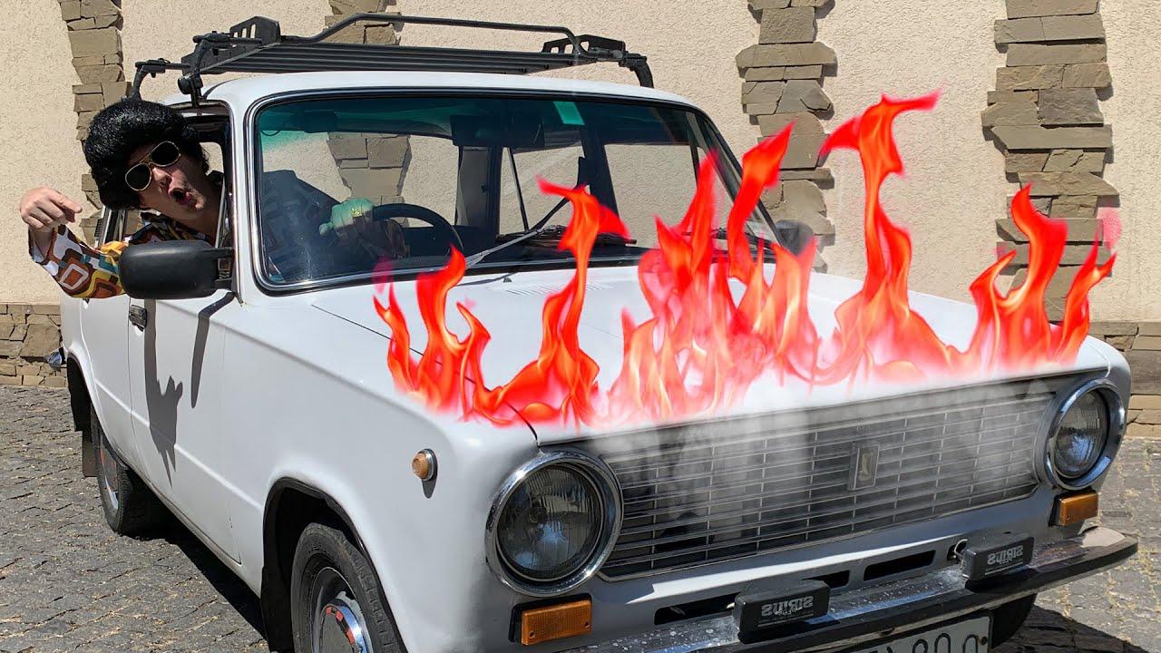 O carro Lada está quebrado e queimando - Dima corre para o resgate