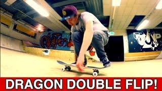 DRAGON DOUBLE FLIP!! (360 DOLPHIN DOUBLE FLIP) NEW SKATEBOARD TRICK!