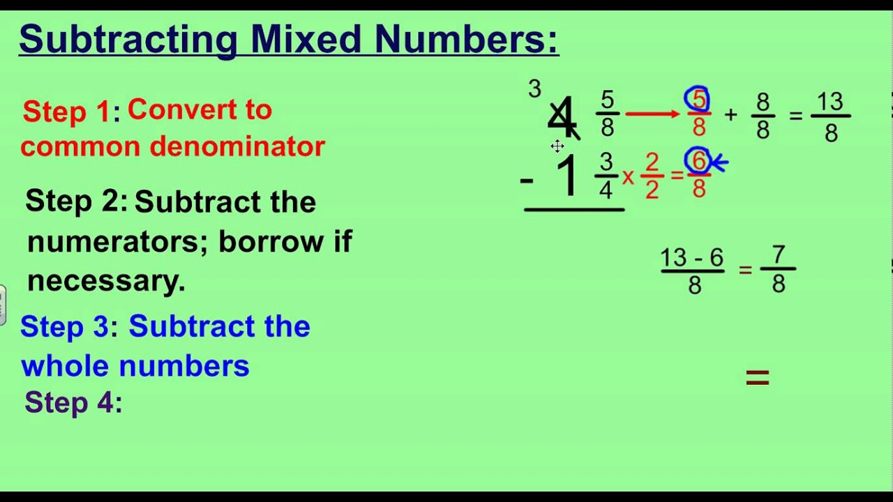 Subtracting Mix Numbers - Boxfirepress