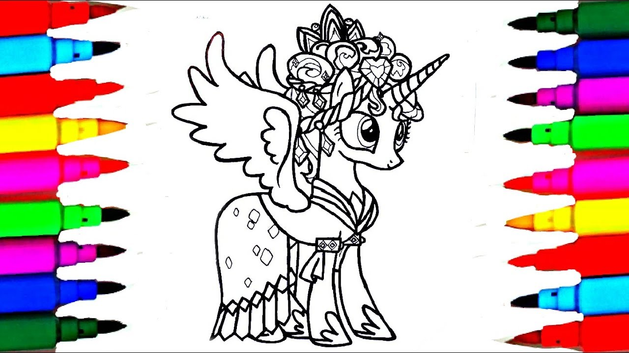 Learn Colors By Coloring My Little Pony Princess Cadance Coloring