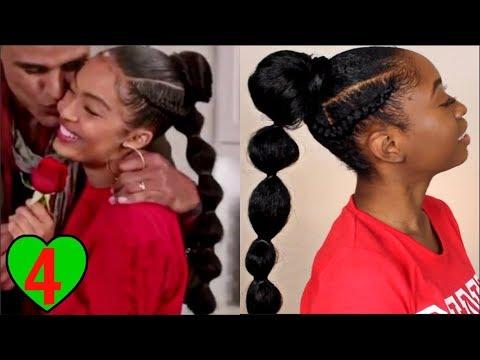 Yara Shahidi Grown-ish Braided Bubble Ponytail Tutorial   Natural Hairstyles