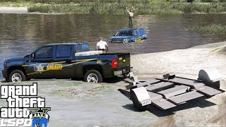 GTA 5 Mods Sheriff Deputy Tahoe Crashes & Gets Stuck In The Lake - Pulled Out By Silverado & Trailer