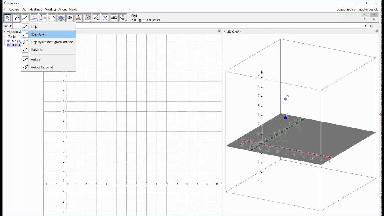 Afsæt 2 punkter i 3D og forbind med linjestykke
