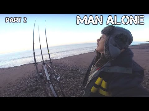 Winter Beach Fishing: Search for Big Eels | Surf N' Turf Cooking | Man Alone [PART 2]