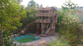 Build Four Story Mud House And Build Swimming Pool With Bamboo Water Slide Around House  (full)