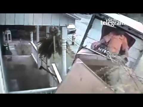 Surveillance video: Furniture truck accident in Worcester ...