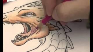 dragon coloreado con lapiz rigido