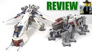Lego Republic Dropship & AT-OT Walker 10195 Review, Comparison & Play!