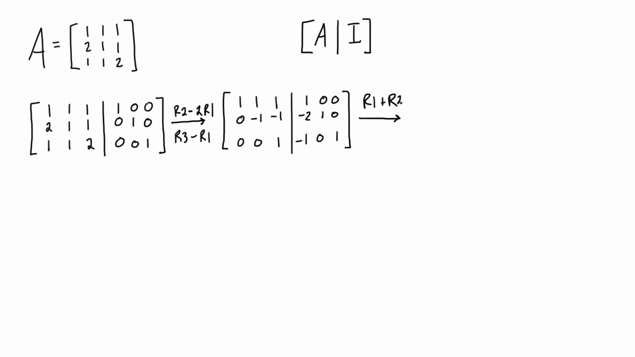 Find the inverse of a 3x3 matrix using the Gauss-Jordan method