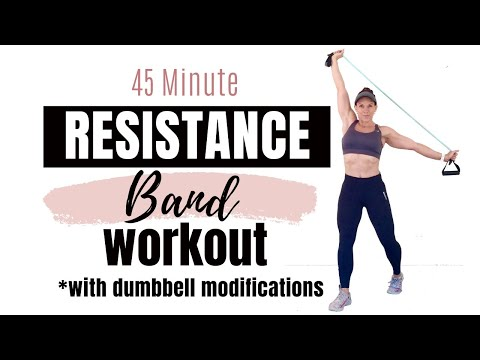 45 MINUTE FULL BODY RESISTANCE BAND WORKOUT Resistance Band Strength Training for Women