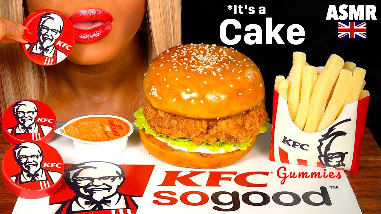 ASMR EATING GIANT CAKE KFC CHICKEN BURGER CAKE, GUMMY FRENCH FIRES, KFC OREO EDBLE PACKET MUKBANG 머