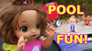 BABY ALIVE Summer Fun, Pool, Water Balloons & Friends Video!