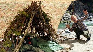 枝を集めてテントを作り一泊のキャンプをしてみる