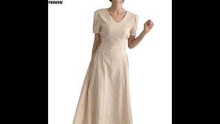 Элегантное женское летнее платье с v образным вырезом стройное винтажное талией свободные офисные