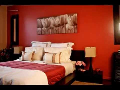 red and brown bedroom decorating ideas - youtube