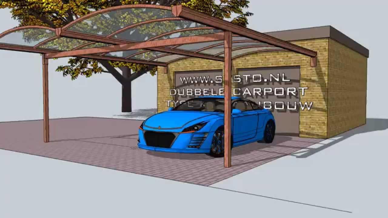kop aanbouw boog carport aluminium systo met auto 5350 2750 x6000 ...