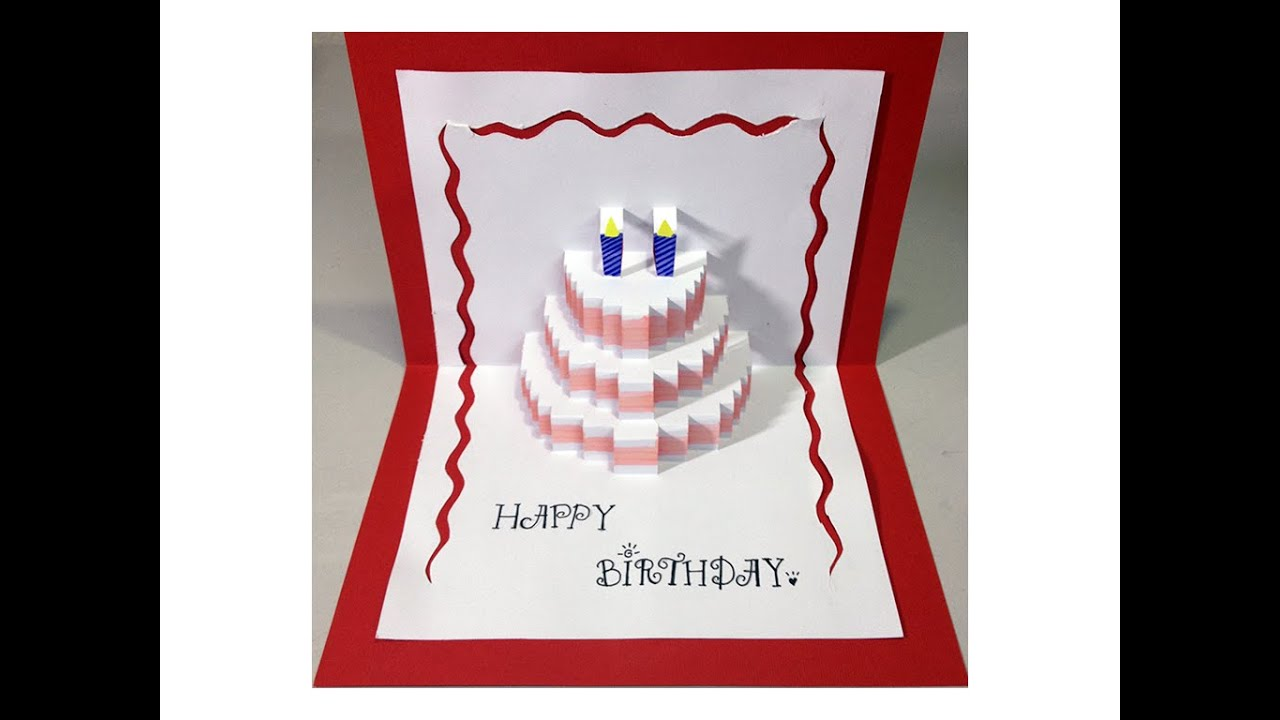 Happy Birthday Cake PopUp Card Tutorial YouTube – Birthday Cake Pop Up Card Template
