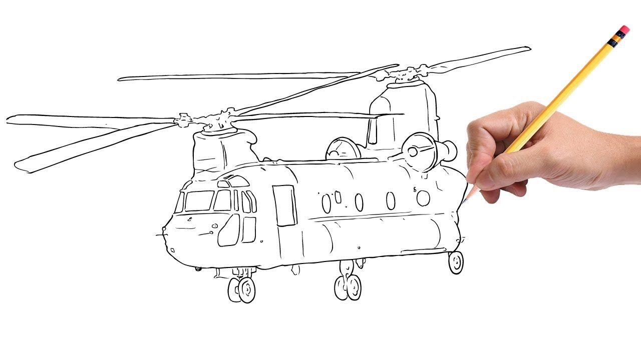 how to draw a helicopter step by step [ 1280 x 720 Pixel ]