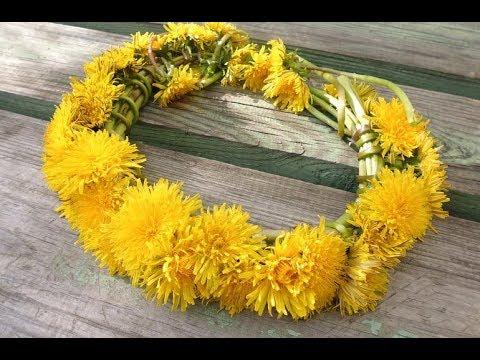 Как плести венок из одуванчиков Wreath Of Flowers