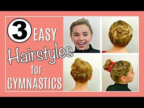 3 EASY HAIRSTYLES for GYMNASTICS | A Messy Bun Tutorial