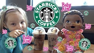 BABY ALIVE goes to STARBUCKS! The Lilly and Mommy Show! The Toytastic Sisters