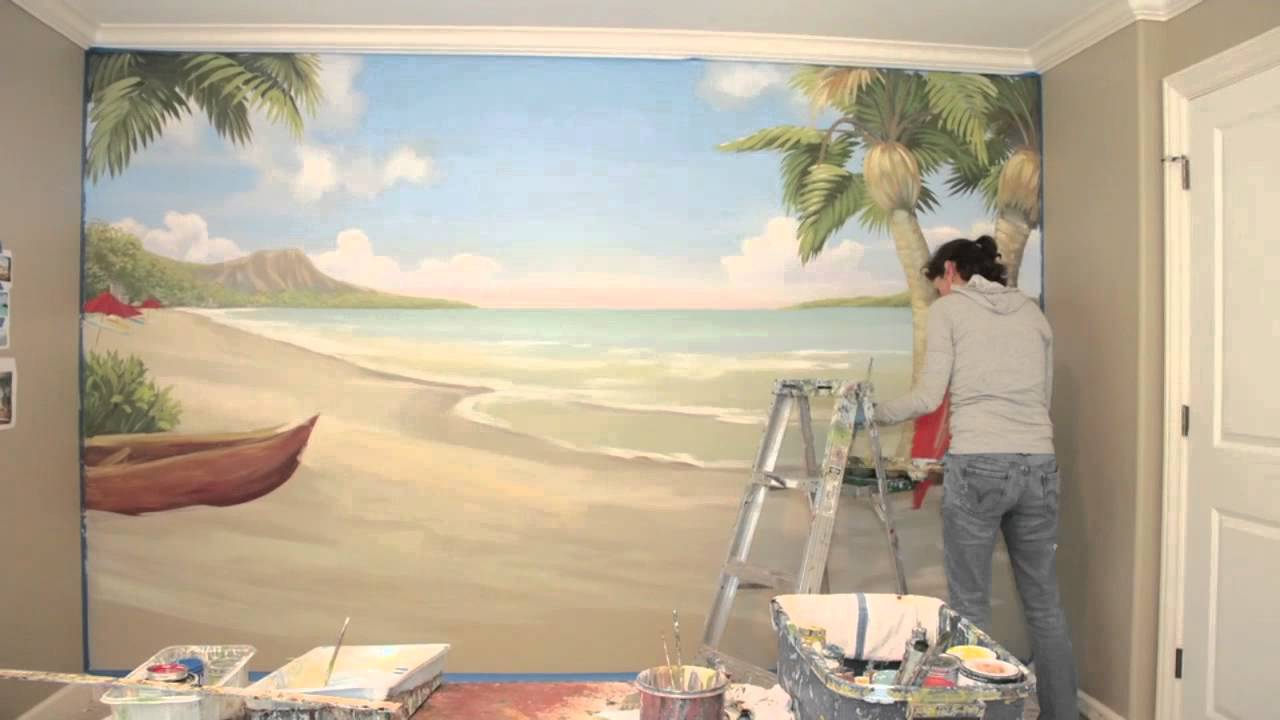 Mural hawaii beach scene youtube for Wall scenes