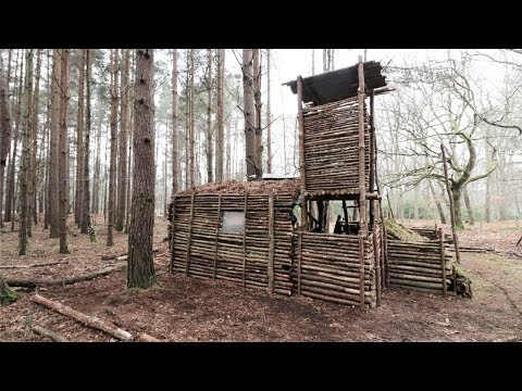 Bushcraft Camp Update 13 - Primitive Shelter, Fire Pit Cooking, Axe, Overnight Camp