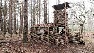 Bushcraft Camp Update 13 - Primitive Shelter, Fire Pit Cooking, Overnight Camp
