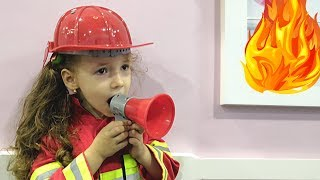 Ulya Pretend Play in Fireman on Fire Station and Ride on POWER WHEELS Car as Fireman Sam