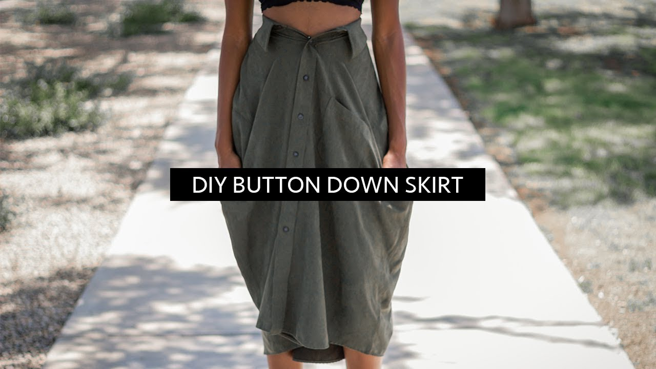 21b3be3d28 DIY Skirt From Shirt (No Sew) | Button Down Shirt Transformation ...