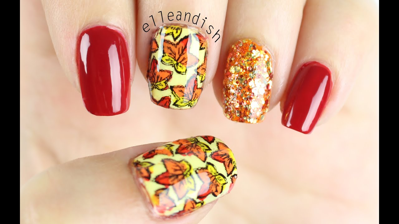 DIY Stamped Nail Wraps: Fall Leaves - YouTube