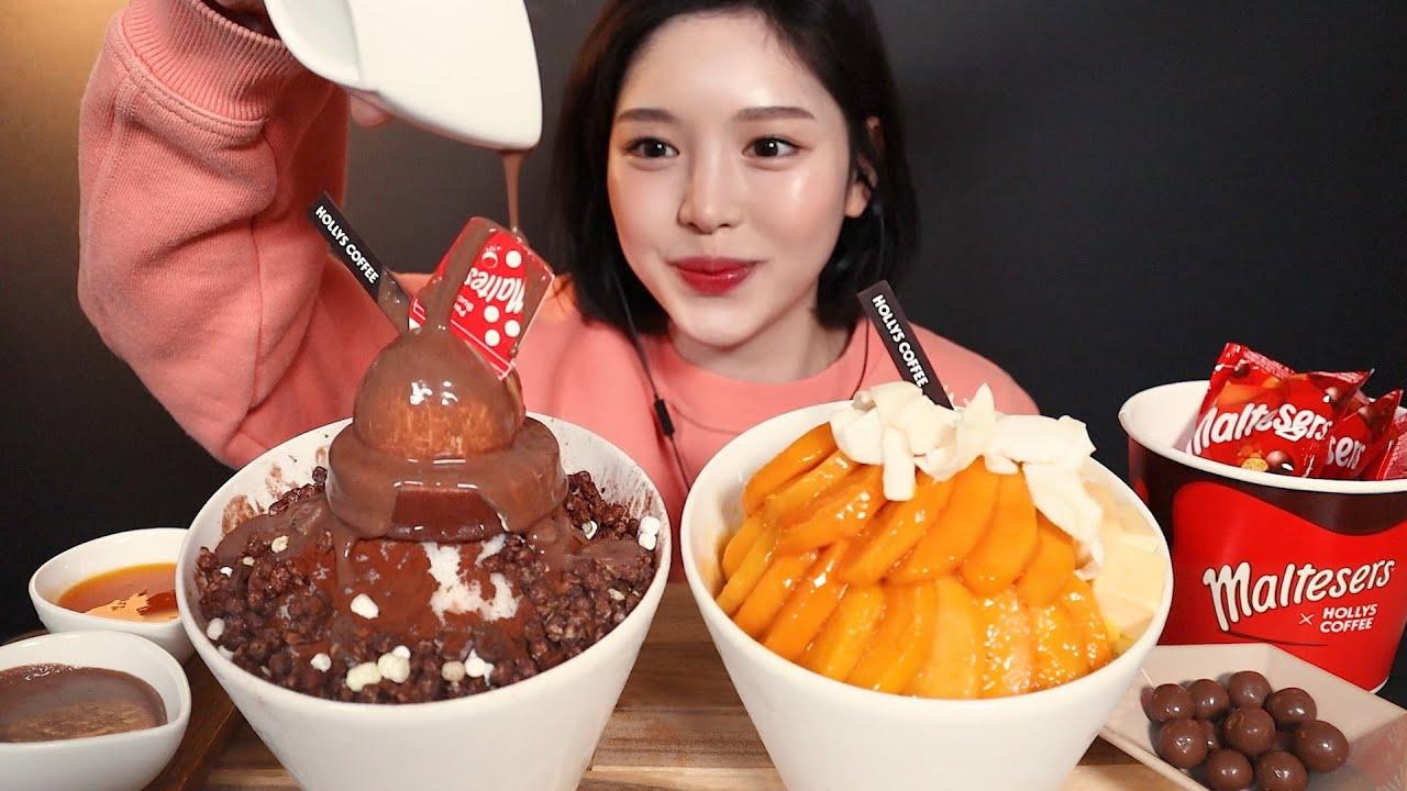 SUB[광고]할리스x몰티져스 초코빙수 망고치즈케익빙수 먹방🍧 미리 여름나기💦 maltesers choco Bingsu mango cheesecake mukbang ASMR
