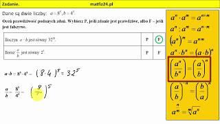 Zadanie 6. Własności potęgowania, potęgi   MatFiz24.pl