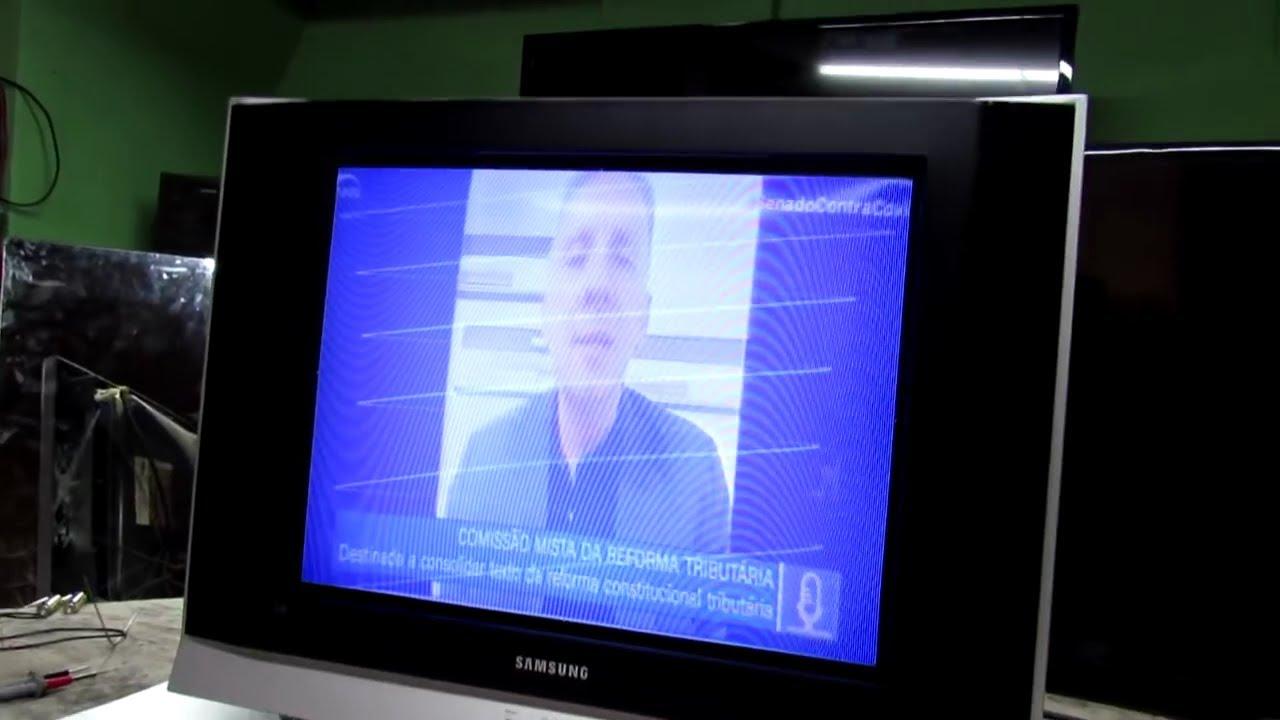 TV SAMSUNG  com imagem azulada, com listas na tela, e com outros defeitos.  # 325