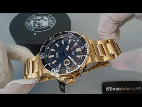 Gold Tone Citizen Eco Drive Endeavor Diver's Sport Watch AW1422 -50E