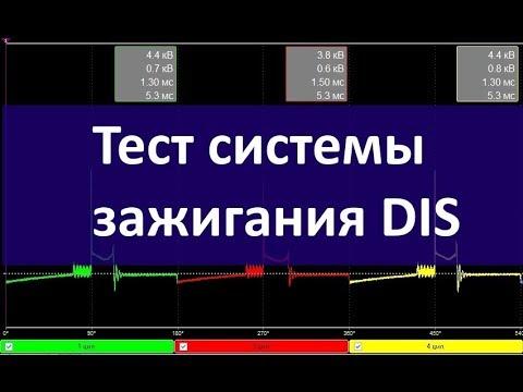 Тест системы зажигания DIS мотор тестером Диамаг2