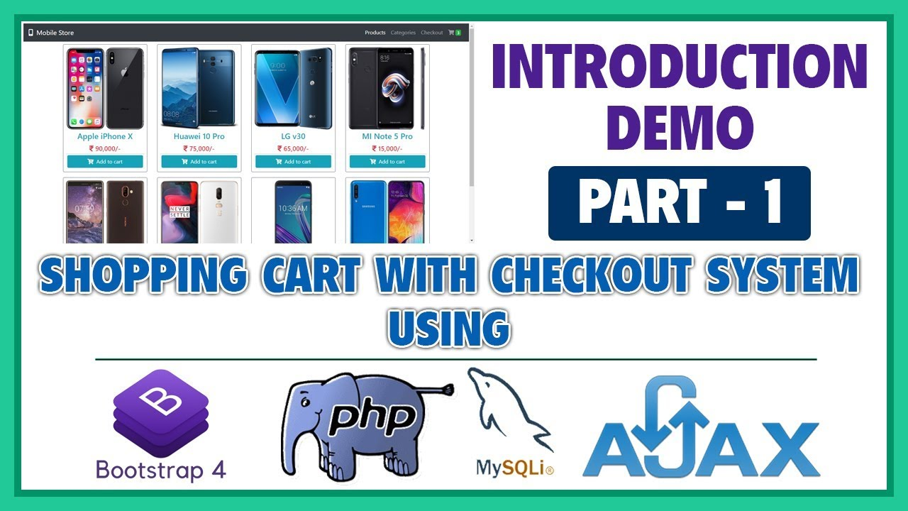 #1 Shopping Cart With Checkout System Using Bootstrap 4, PHP, MySQLi & Ajax | Introduction & Demo