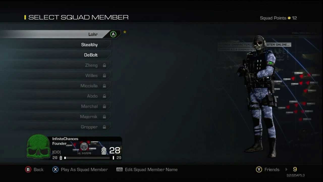 CoD Ghosts Using Your Squad Members As Custom Class Sets
