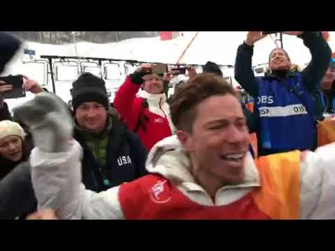 Shaun White lets loose after winning Gold Medal in half pipe in PyeongChang!