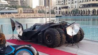 Batmobile & Batcycle at Burj Khalifa in Dubai 25.12.2016