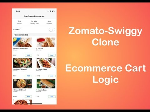 Zomato/Swiggy Clone | Ecommerce Cart Logic | Food Delivery App | Swift 4