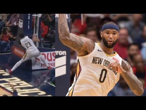 Anthony Davis Slips on Mop! Rajon Rondo Pelicans Debut! Hawks vs Pelicans 2017-18 Season