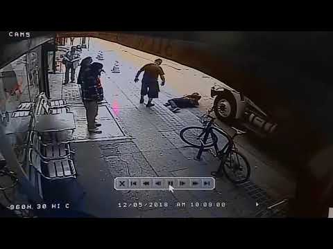 Man pushes random passerby in front of oncoming truck in Los Angeles