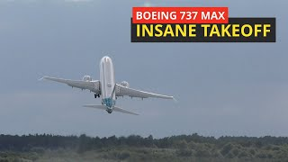 Real steep takeoff Boeing 737 MAX  Farnborough air show