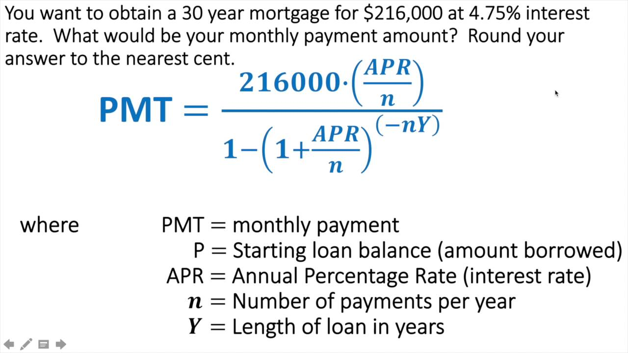 calculating loan payments for a mortgage