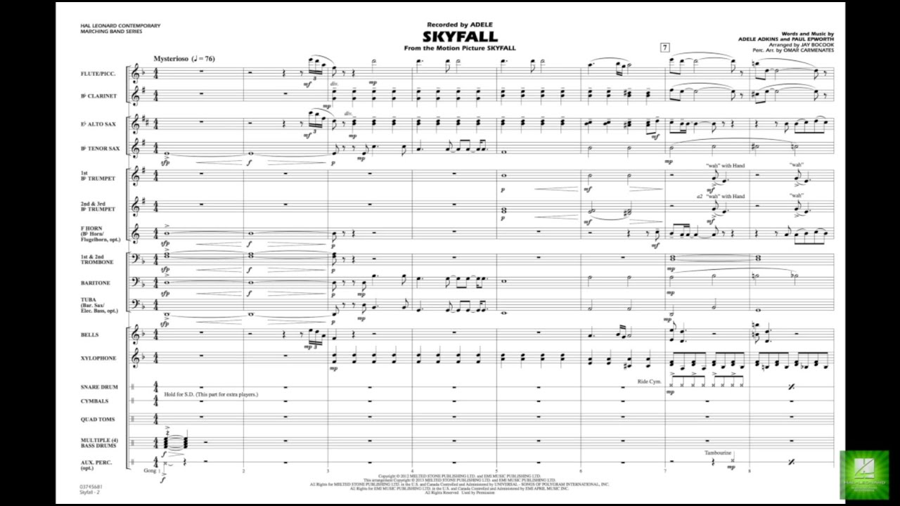 Skyfall arranged by Jay Bocook