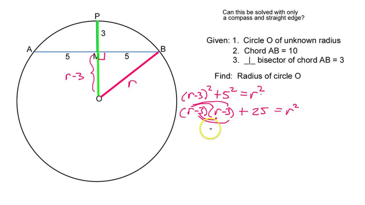 How do you find the radius given a chord and a perpendicular how do you find the radius given a chord and a perpendicular bisector ccuart Image collections