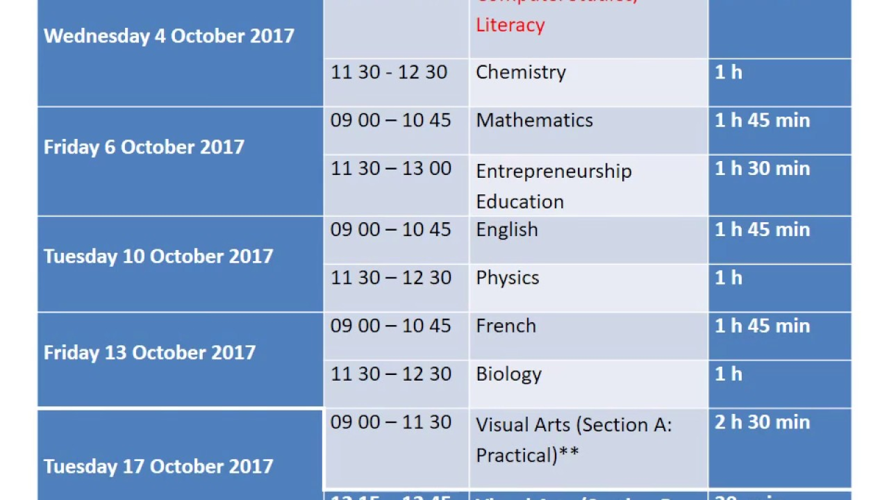 Form III Time Table 2017 + Computer Studies National Exam Papers ...