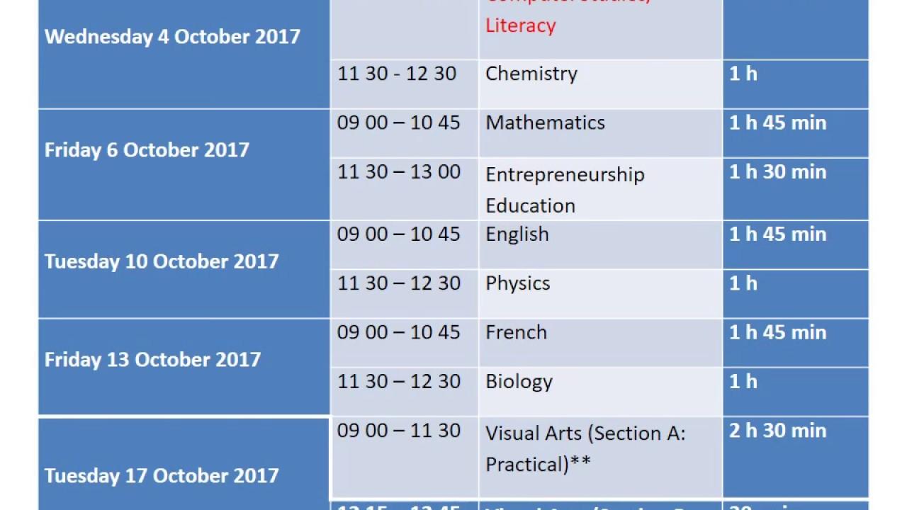 Form III Time Table 2017 + Computer Studies National Exam